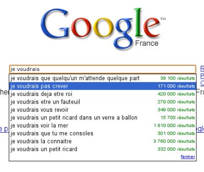 Google Suggest : je voudrais...