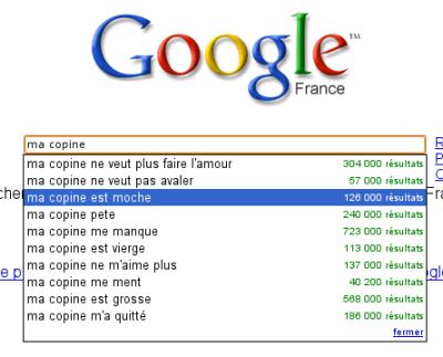 Google Suggest : Ma Copine