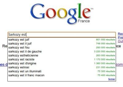 Google Suggest : Sarkozy est...