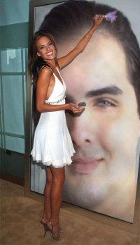 Montage Photofunia : Achraf C. dans un poster dessiné par une femme