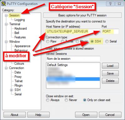 Etape 1 pour créer un proxy socks via SSH, avec Putty sous Windows
