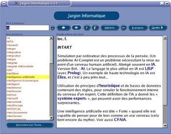 Screenshot de l\'interface graphique du Jargon Informatique