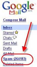 Dossier SPAM de Google Gmail
